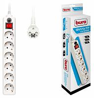 Сетевой фильтр Buro 600SH-1.8-W 1.8м 10A/2.2кВт (6 розеток) белый (коробка)