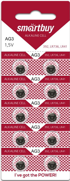 Батарейка часовая Smartbuy AG3 (SR41, R41, G3, LR41 , LR736, 192, 392) 10 шт в уп.
