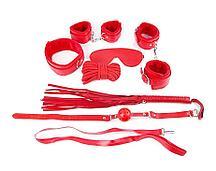 Фетиш набор красный (наручники, наножники, маска, кляп, плеть, ошейник с поводком, верёвка)
