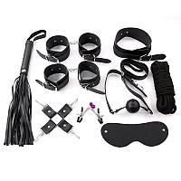 Фетиш набор черный (наручники, оковы, маска, кляп, плеть, ошейник с поводком, верёвка, фиксатор, зажимы для