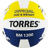 """Мяч вол. """"TORRES BM1200"""" арт.V42035, р.5, синт.кожа (микрофибра), клееный, бут.кам, бел-син-желт"""