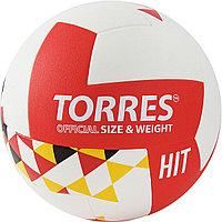 """Мяч вол. """"TORRES Hit"""" арт.V32055 р.5, синт.кожа (ПУ), клееный, бут.кам, бело-красно-мультколор"""