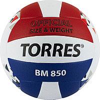"""Мяч вол. """"TORRES BM850"""" арт.V32025, р.5, синт. кожа (ПУ), клееный, бут. кам., бел-син-крас"""