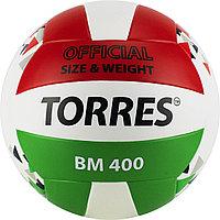 "Мяч вол. ""TORRES BM400"" арт.V32015, р.5, синт. кожа (ТПУ), клееный, бут.кам., бело-крас-зелен"