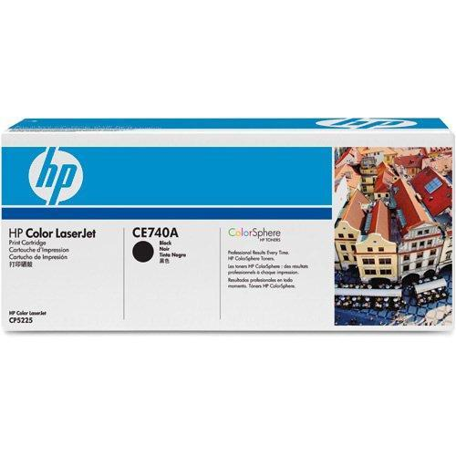 HP CE740A Black Print Cartridge for Color LaserJet CP5225, up to 7000 pages.