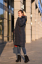 Зимний пуховик женский синий