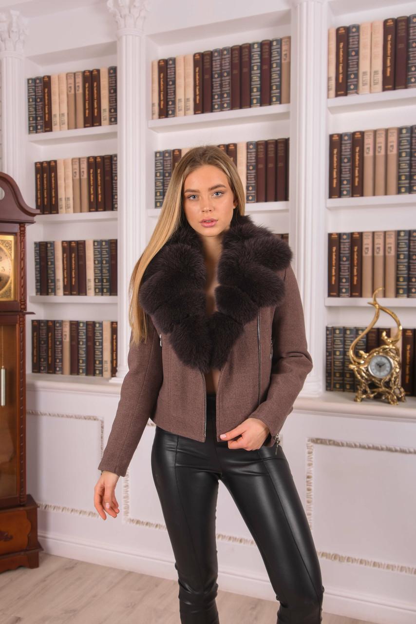 Женское пальто косуха с мехом песца