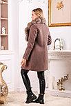 Коричневое пальто с песцовым воротником, фото 2