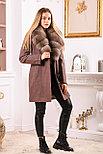 Коричневое пальто с песцовым воротником, фото 3