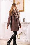 Коричневое пальто с песцовым воротником, фото 4