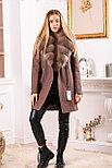 Коричневое пальто с песцовым воротником, фото 5