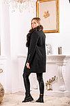 Женское пальто средней длины с мехом песца, фото 2