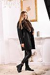 Женское пальто средней длины с мехом песца, фото 4