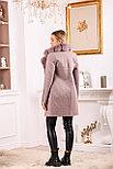 Женское пальто цвета пудра с меховым воротником, фото 2