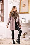 Женское пальто цвета пудра с меховым воротником, фото 3
