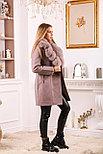 Женское пальто цвета пудра с меховым воротником, фото 4