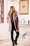 Женское пальто цвета пудра с меховым воротником, фото 5