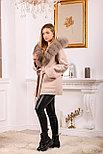 Пальто пончо с меховым капюшоном, фото 2