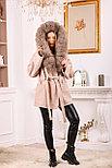Пальто пончо с меховым капюшоном, фото 3