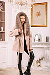 Пальто пончо с меховым капюшоном, фото 4