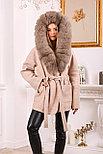 Пальто пончо с меховым капюшоном, фото 5