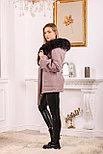 Розовое пальто с меховым капюшоном, фото 2