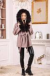 Розовое пальто с меховым капюшоном, фото 3