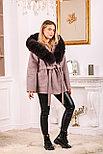 Розовое пальто с меховым капюшоном, фото 4