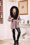 Розовое пальто с меховым капюшоном, фото 5