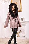 Розовое пальто с меховым капюшоном, фото 6