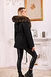 Модное женское пальто с меховым капюшоном, фото 2