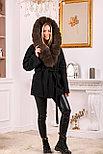 Модное женское пальто с меховым капюшоном, фото 3