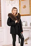 Модное женское пальто с меховым капюшоном, фото 4