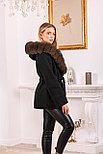Модное женское пальто с меховым капюшоном, фото 5