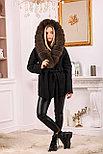 Модное женское пальто с меховым капюшоном, фото 6