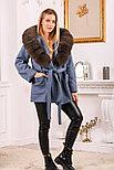 Джинсовое женское пальто с меховым капюшоном, фото 2