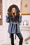 Джинсовое женское пальто с меховым капюшоном, фото 3