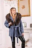 Джинсовое женское пальто с меховым капюшоном, фото 4