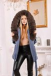 Джинсовое женское пальто с меховым капюшоном, фото 5