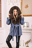 Джинсовое женское пальто с меховым капюшоном, фото 6