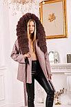 Женское пальто с капюшоном и ярким мехом, фото 2
