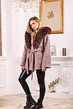 Женское пальто с капюшоном и ярким мехом, фото 3