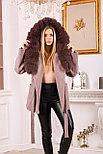 Женское пальто с капюшоном и ярким мехом, фото 4