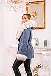 Женское пальто с меховыми манжетами и капюшоном, фото 2