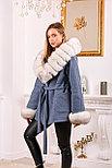 Женское пальто с меховыми манжетами и капюшоном, фото 3