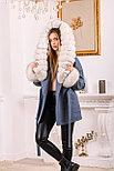 Женское пальто с меховыми манжетами и капюшоном, фото 5