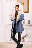 Женское пальто с меховыми манжетами и капюшоном, фото 6