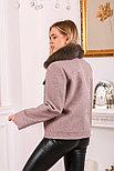 Пальто бушлат из шерсти с меховым воротником, фото 2