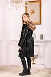 Женская шуба из натурального меха с леопардовым капюшоном, фото 2
