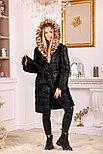 Женская шуба из натурального меха с леопардовым капюшоном, фото 3